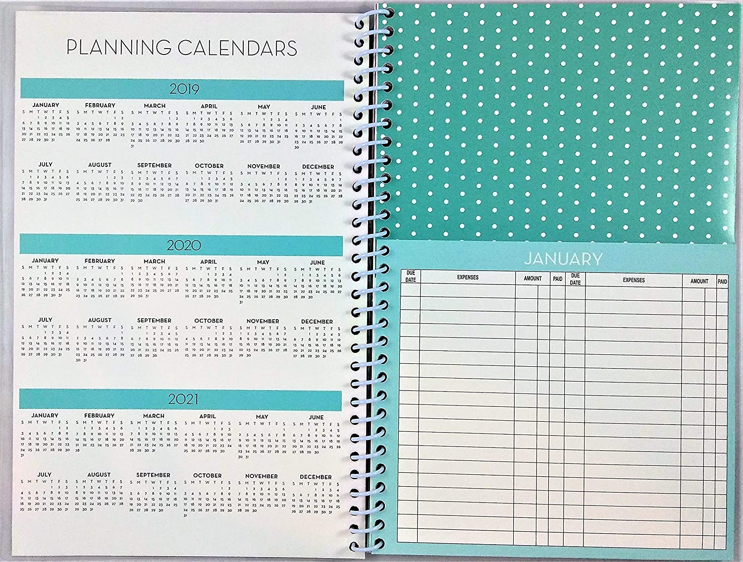 Pink Roses on White Home Finance /& Bill Organizer with Pockets