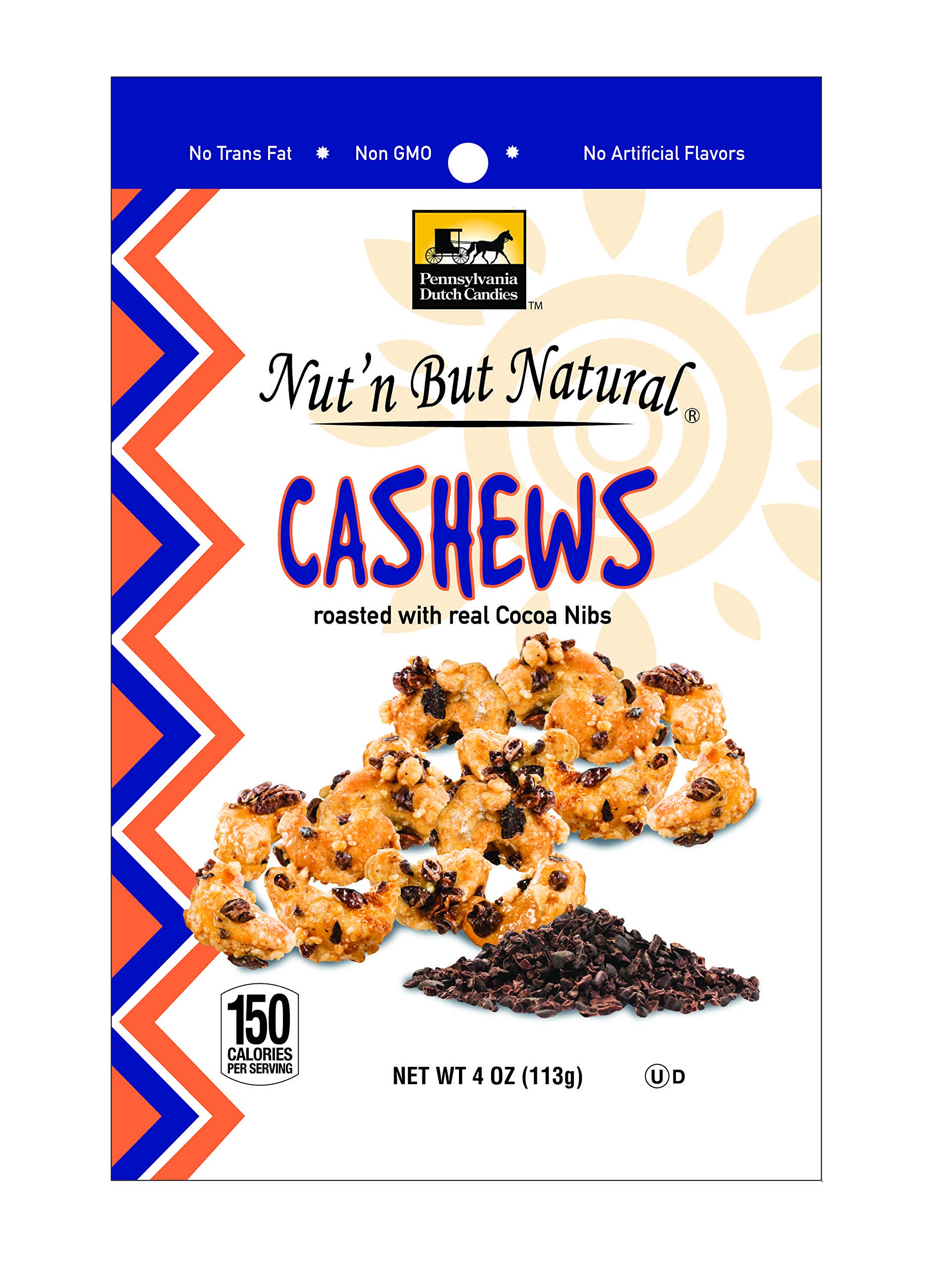 Nut'n But Natural Cashews, Roasted with real Cocoa Nibs, 2 Pack
