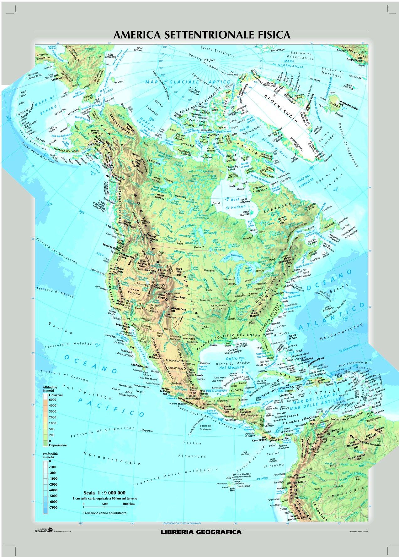 Cartina Fisica Del Nord America.Amazon It Nord America Fisica E Politica Carta Murale Libri