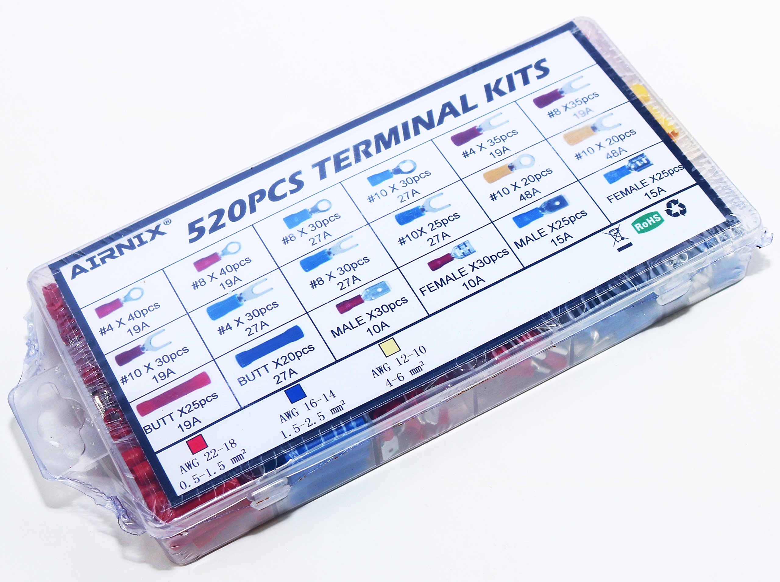 AIRNIX 520 Piece Electrical Terminal Assortment; Spades ''Forks'' Rings Male Female Quick Disconnects Butt Splice AWG Red 22-18, Blue 16-14, Yellow 12-10 by AIRNIX (Image #2)