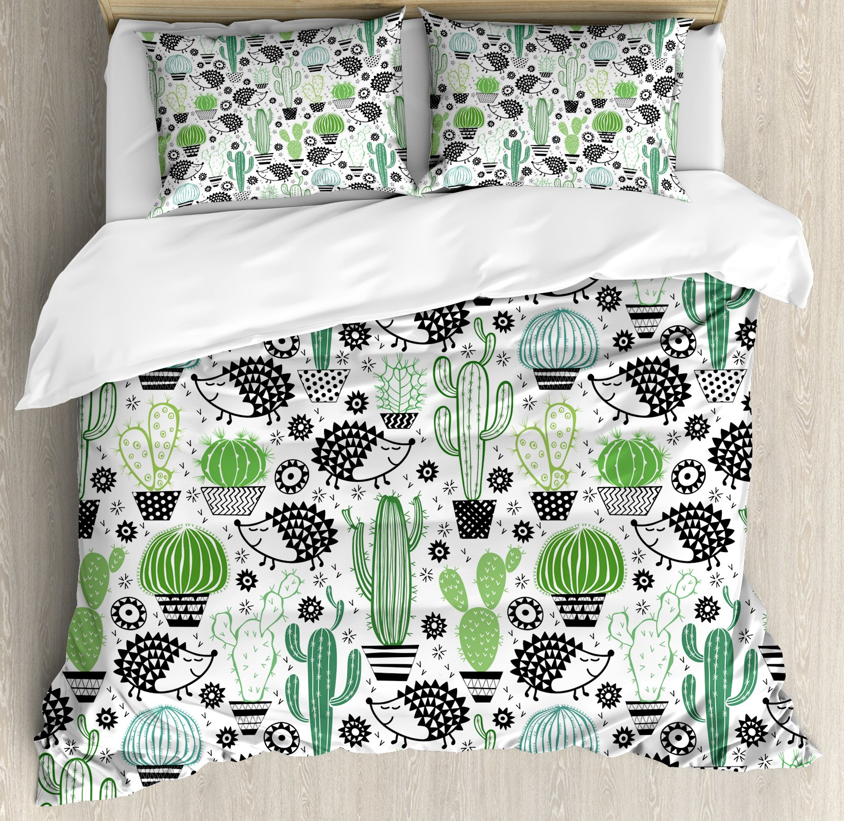 Ambesonne Cactus Decor Duvet Cover Set King Size, Cartoon Inspired Drawing of Cute Hedgehog Animals Saguaro and Prickly Pear, Decorative 3 Piece Bedding Set with 2 Pillow Shams, Multicolor