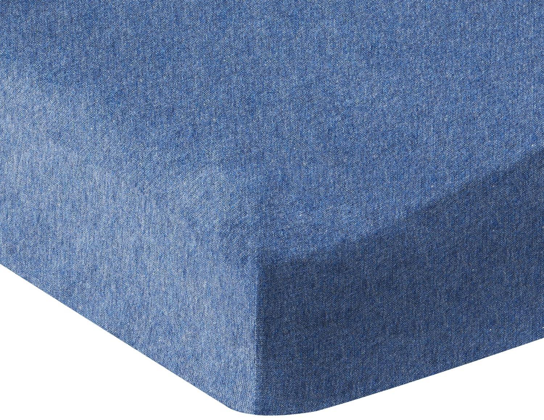 AmazonBasics Heather Cotton Jersey Fitted Baby Crib Sheet - Chambray Blue