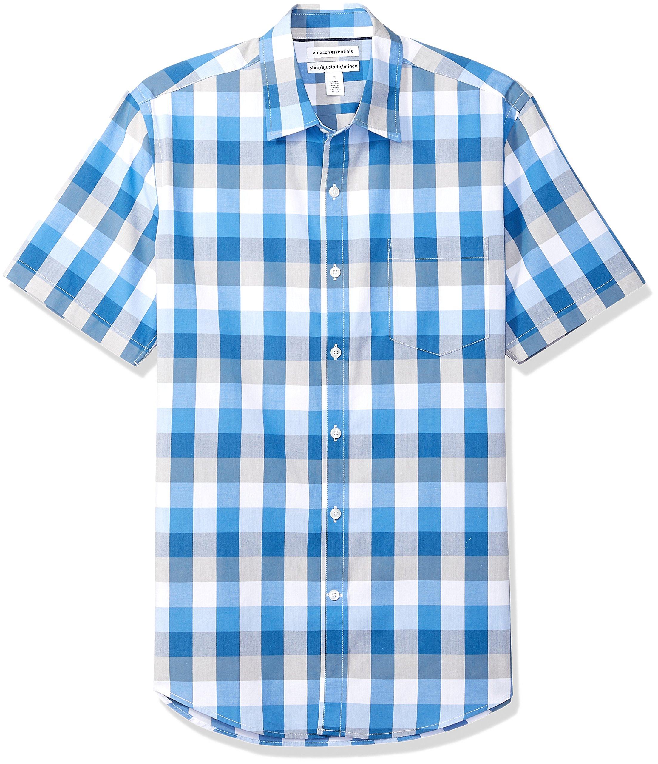 Amazon Essentials Men's Slim-Fit Short-Sleeve Casual Poplin Shirt, Blue/Grey Check, Large by Amazon Essentials