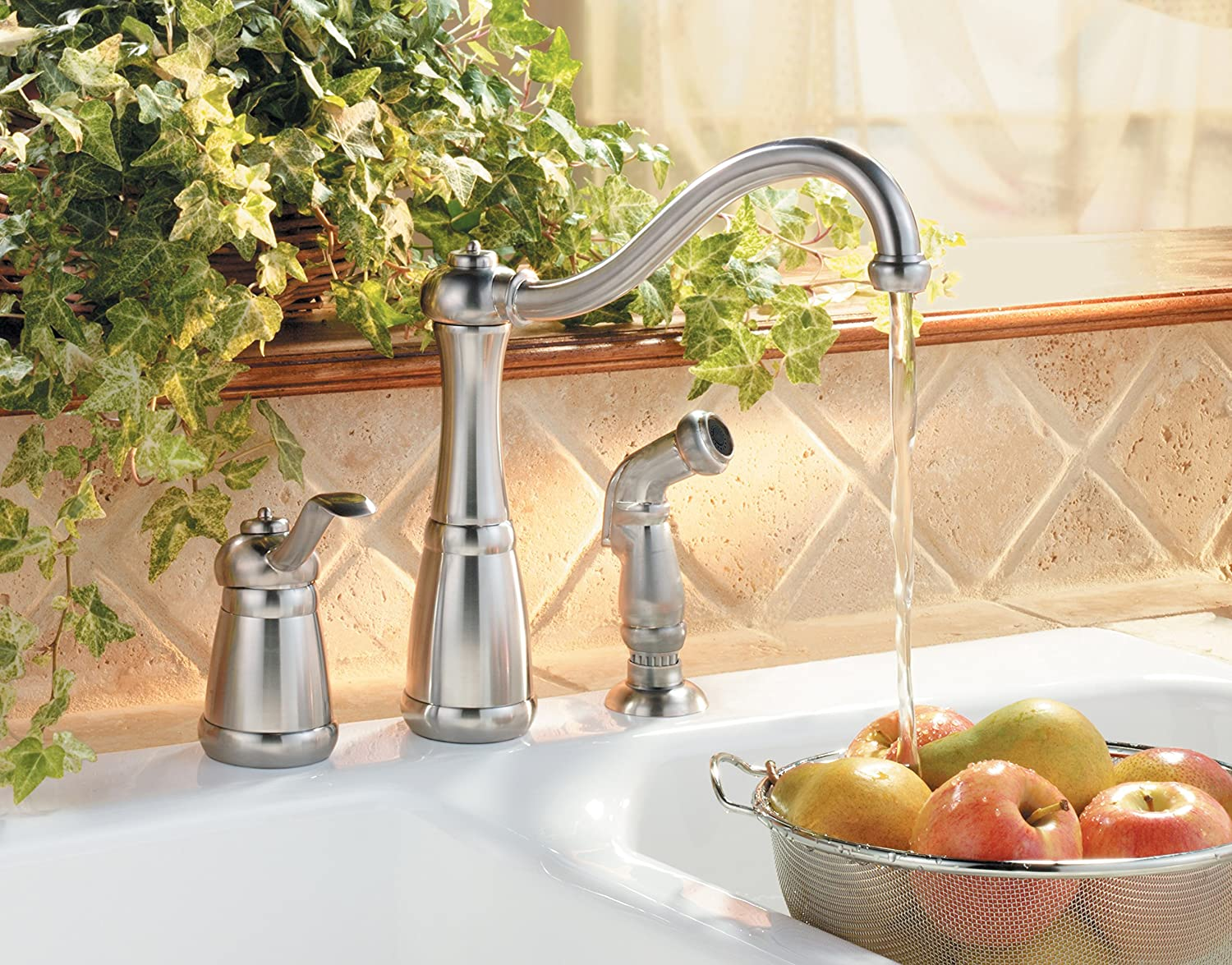 Stainless Steel Price Pfister Pfister LG263NSS Marielle 1-Handle Kitchen Faucet with Side Spray