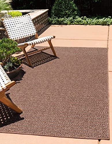 Unique Loom Outdoor Modern Collection Striped Casual Transitional Indoor and Outdoor Flatweave Brown Area Rug 5' 3 x 8' 0