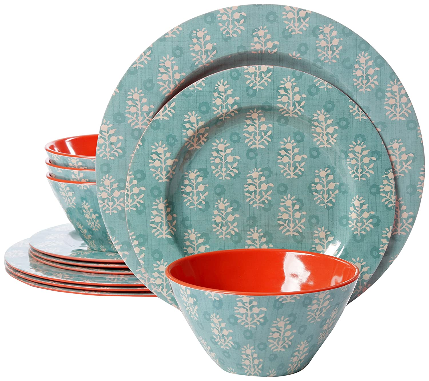 Gibson Studio 94893.12 Line by Laurie Gates 12 Piece Mauna Melamine Dinnerware Set of 4, Blue