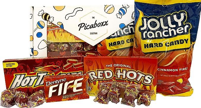 Picaboxx Canela Picante Caliente American Candy Selección de caja de regalo ☆ 11 productos Value Pack ☆ American Candy Hamper ☆ Dulce caja de regalo con escaparate: Amazon.es: Alimentación y bebidas