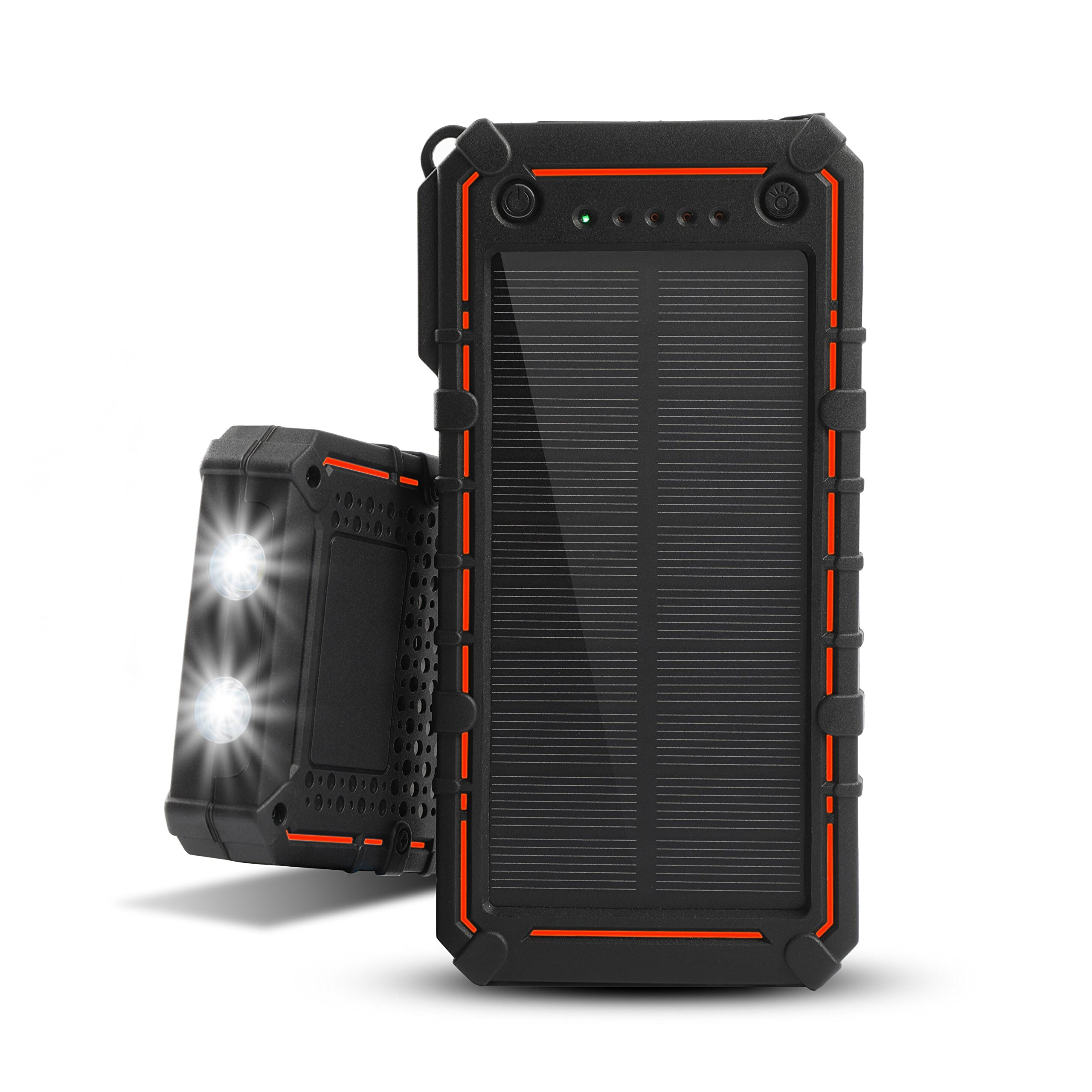 Solar Charger 13500mAh,WBPINE Waterproof Power Bank Dual USB with 2 LED Flashlight for iPhone 8,Samsung,iPad and More(orange)