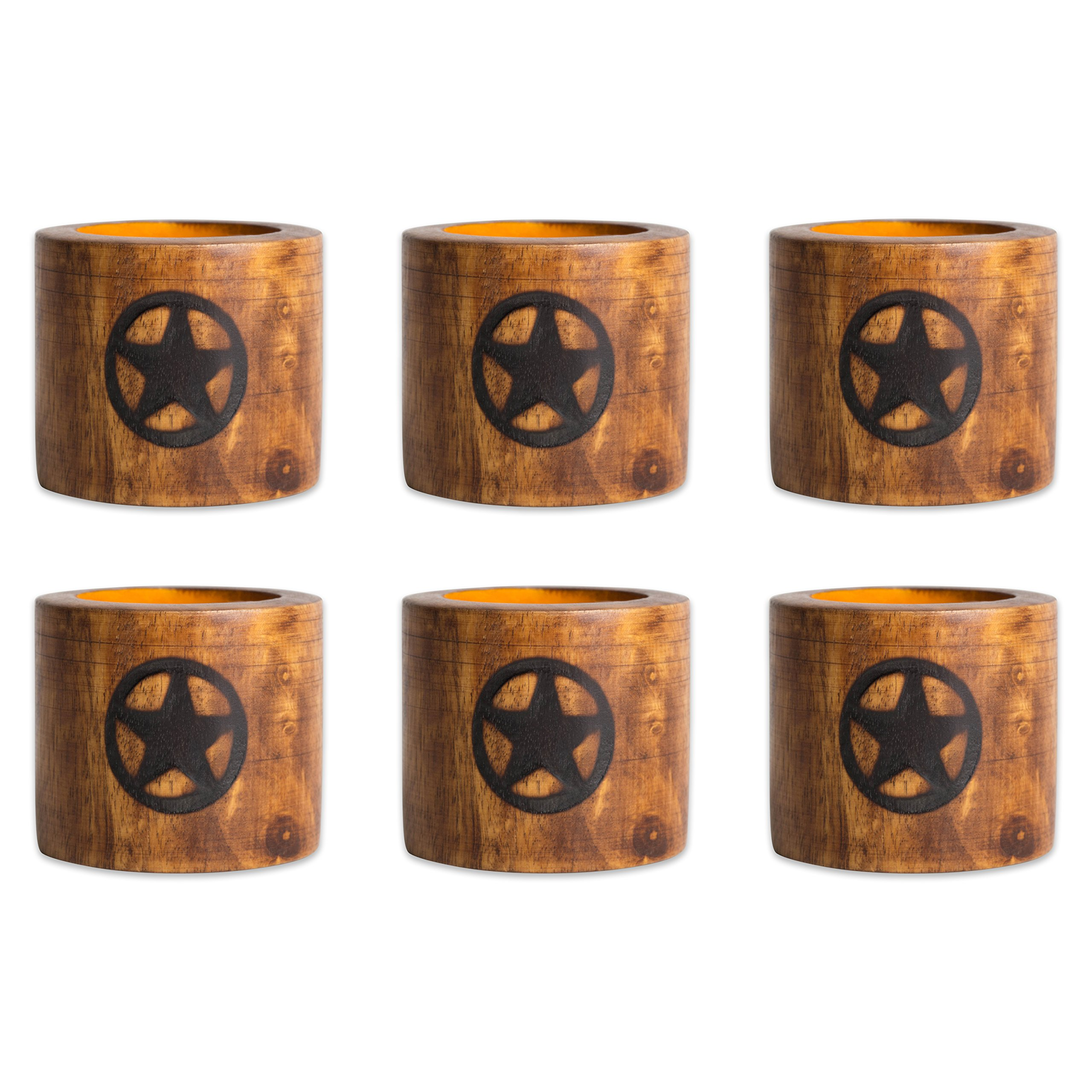DII Napkin Rings for Family Dinners, Weddings, Outdoor Parties or Everyday Use, Set of 6, Lone Star