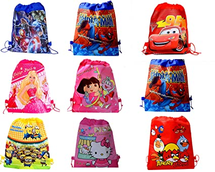 SR GIFTS Cartoon Printed Haversack Bag For Kids Birthday Party Return GiftPack Of 12 Amazonin Toys Games