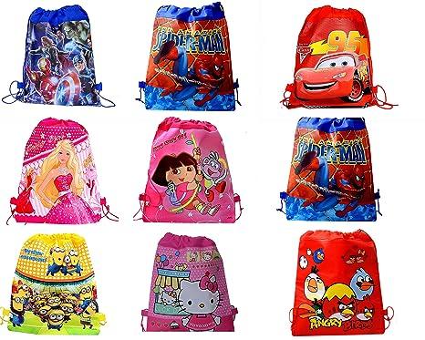 SR GIFTS Cartoon Printed Haversack Bag For Kids Birthday Party Return GiftPack Of 12