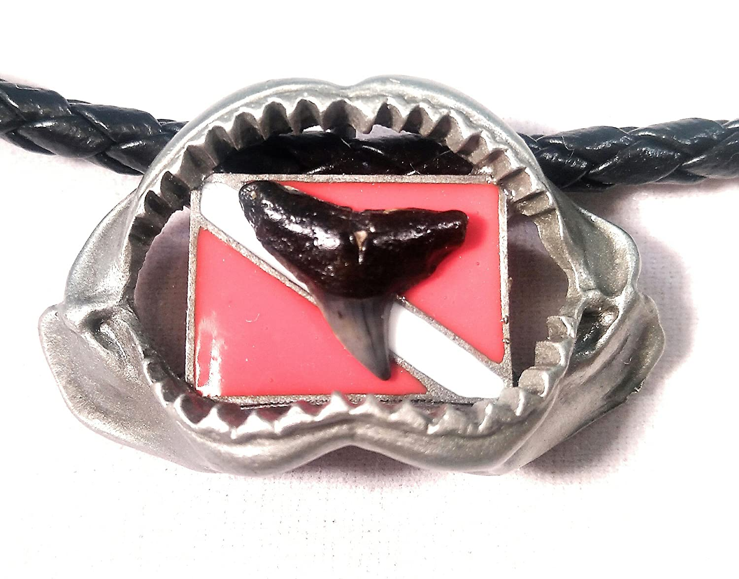 New Silver Pewter Megalodon Shark Jaw Necklace with Diver Down Flag and Prehistoric Megalodon Fossil Shark Tooth