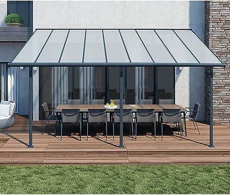 Cubierta para terraza de aluminio de alta calidad Sierra, 299 x 555 cm (profundidad x ancho), de color gris, con sistema de fijación y canalones incluidos: Amazon.es: Jardín