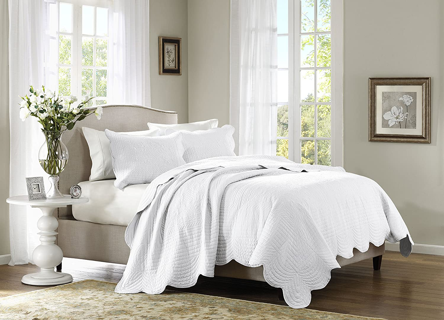 Madison Park Tuscany 3 Piece Coverlet Set, Full/Queen, White MP13-1037
