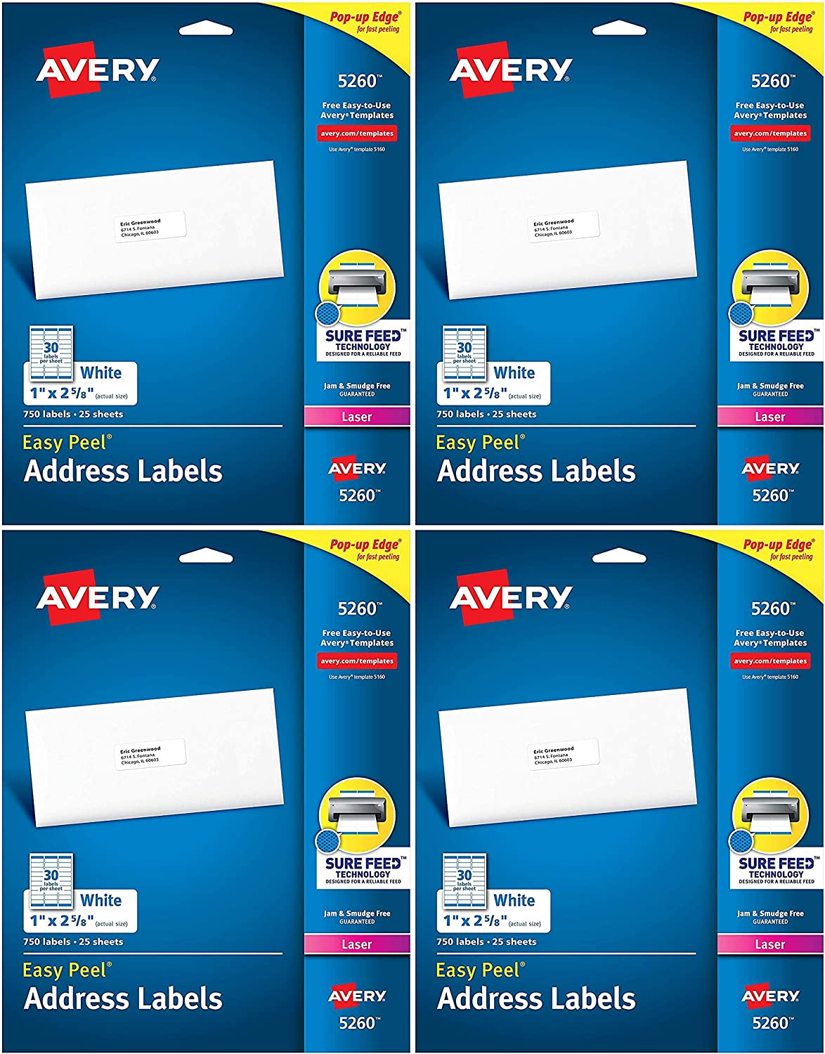 Avery 5160 Address Labels 1 x 2 5//8 3000 Labels Easy Peel Laser New Sealed