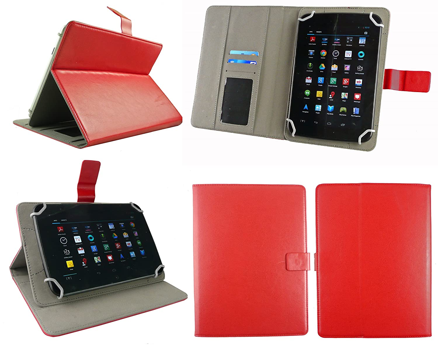 Emartbuy/® Acer Iconia One B1-850 8 Inch Tablet Universal Range White Multi Angle Executive Folio Wallet Case Cover With Card Slots White Stylus
