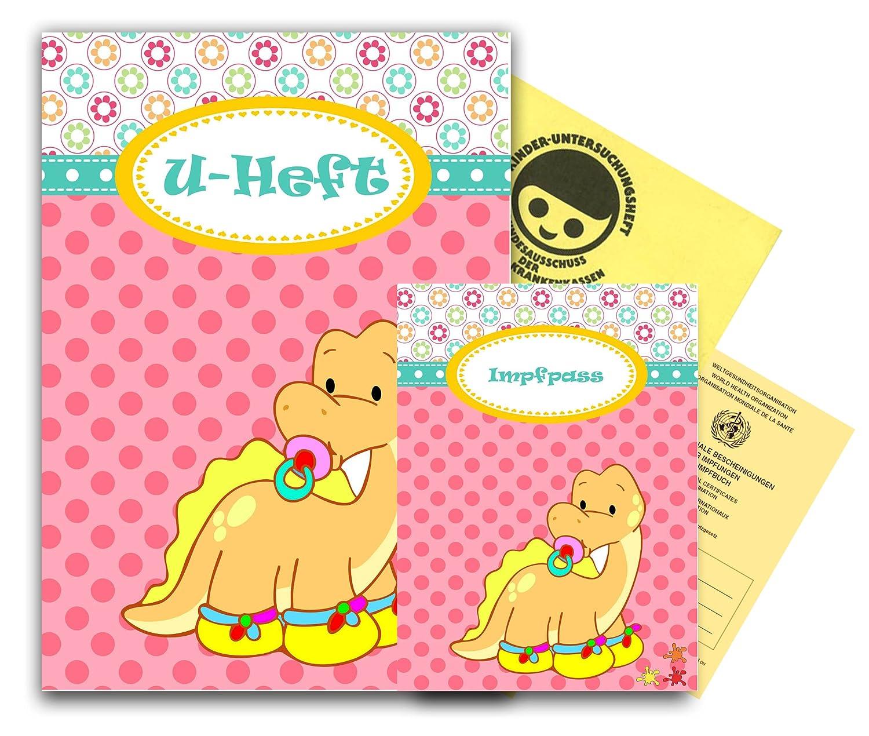 U-Heft Hülle incl. Impfpass Hülle - Babydinos - Motiv 1 - personalisierbar mit Namen Farbklecks Collection ®