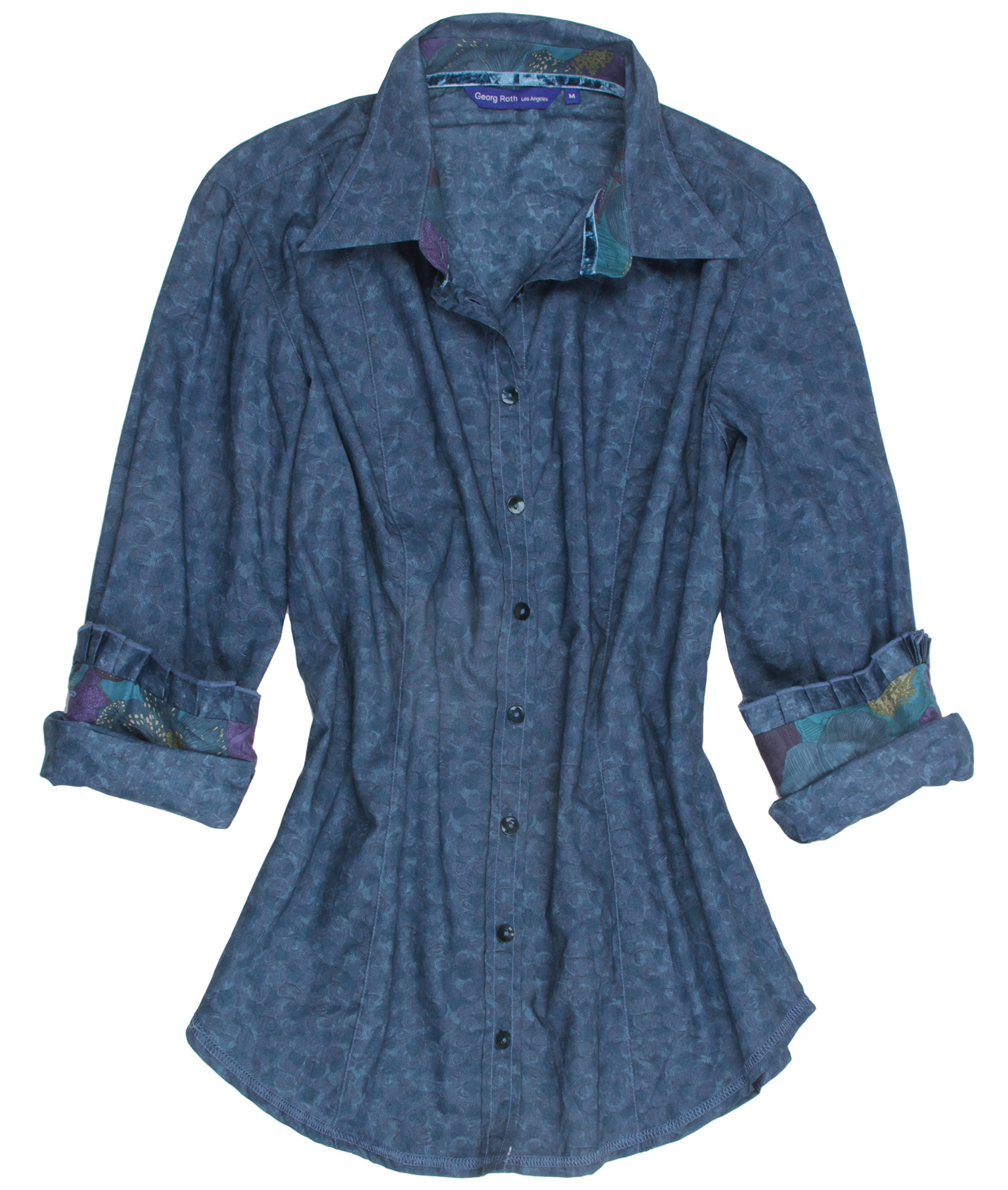 Georg Roth Terry-B50008-744 Long Sleeves Cotton Blouse With Pleated Detail Cuffs Size (M)