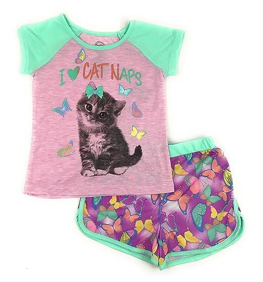 5ddc0febe4f1 Wonder Nation Girls Graphic Short Sleeve Top and Shorts 2-Piece Pajamas,  Unicorn,
