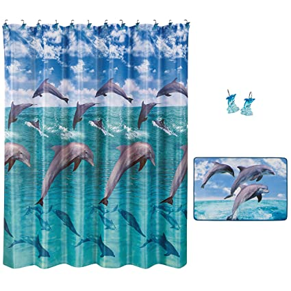 Allure Home Creations Jump For Joy Bathroom Set   70x72 Inches Dolphin  Shower Curtain With 12