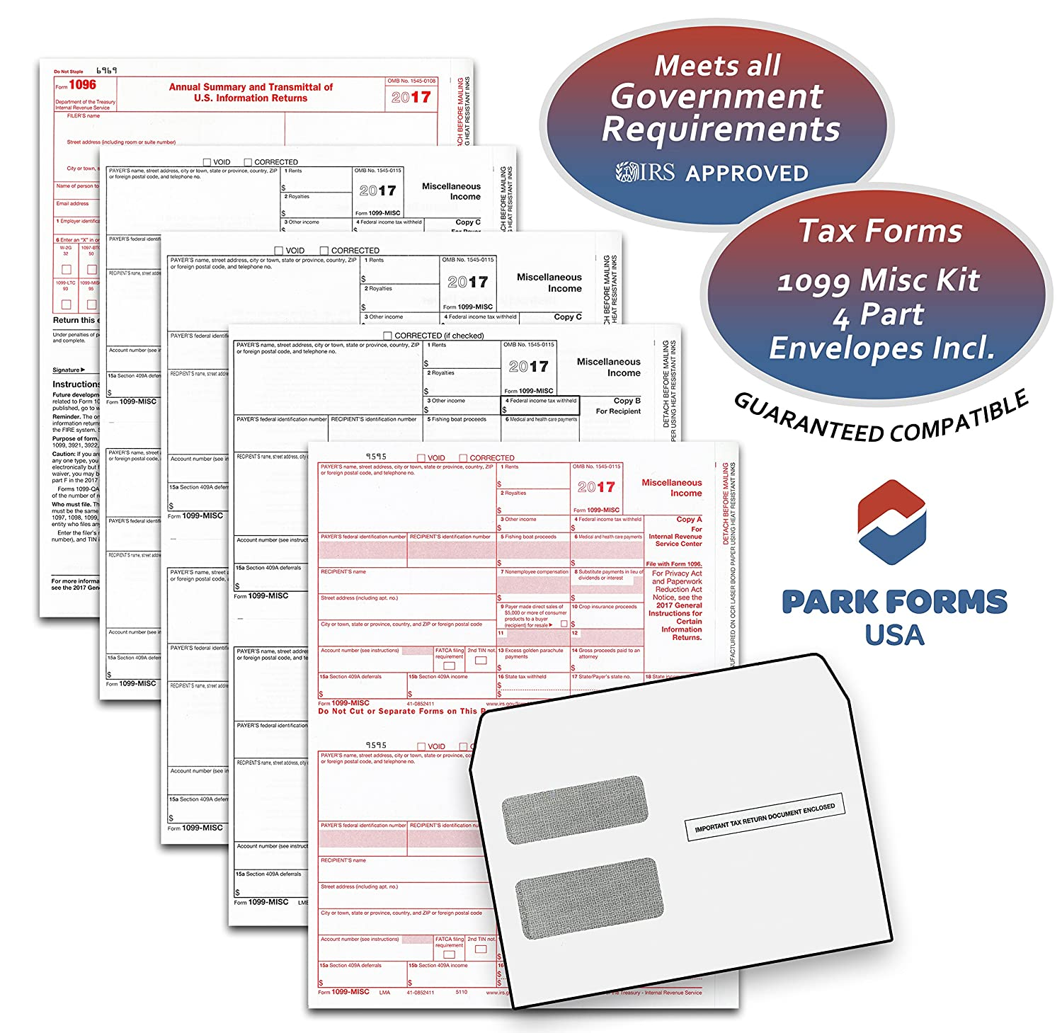 Amazon 2017 laser tax forms 1099 misc income 4 part set amazon 2017 laser tax forms 1099 misc income 4 part set envelope kit for 25 individuals park forms office products falaconquin