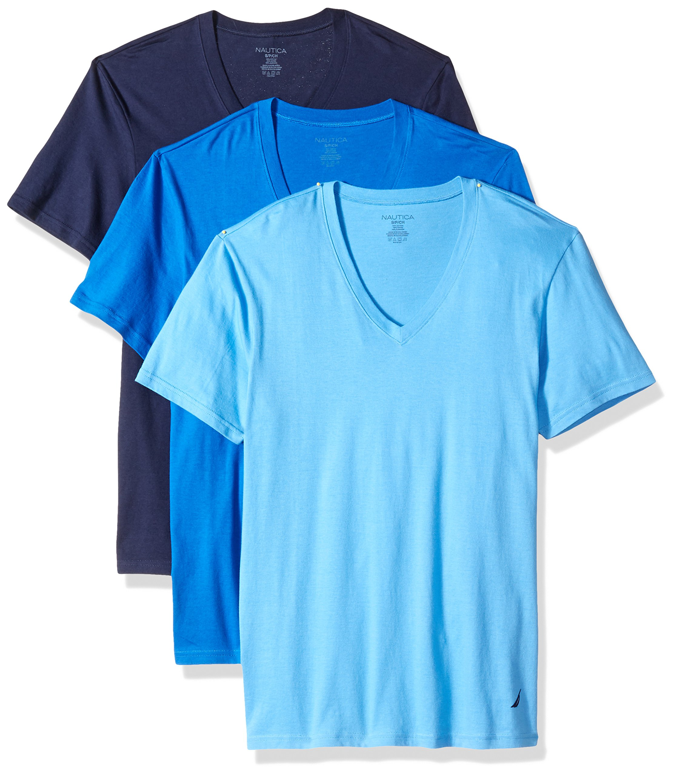 Nautica Men's 3-Pack Cotton V-Neck T-Shirt, Peacoat/Aero/Cob, Large