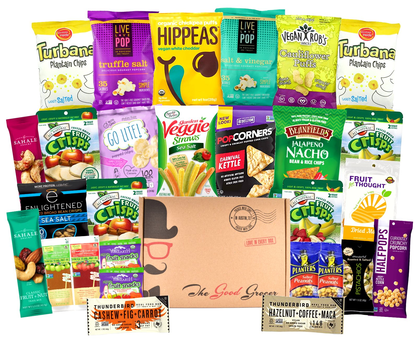 GLUTEN FREE and VEGAN Healthy Snacks Care Package (28 Ct): Plant-Based Snacks, Bars, Chips, Crispy Fruit, Nuts Trail Mix, Gift Box Sampler, Office Variety, College Student Care Package, Gift Basket by The Good Grocer