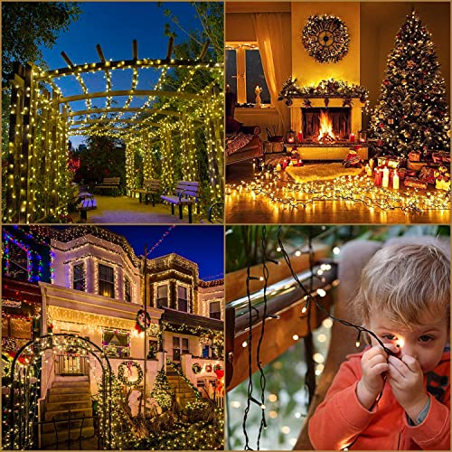 Christmas Tree Lights 108FT 300LED Outdoor Christmas Lights Waterproof IP65 UL Certificated End-to-End Connectable Patio Outdoor Christmas Lights Indoor Christmas Tree Lights Warm White
