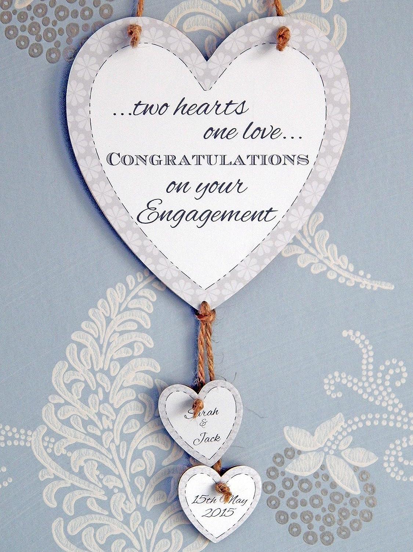 Personalised Engagement Couple Congratulations  Heart Keepsake Gift Present