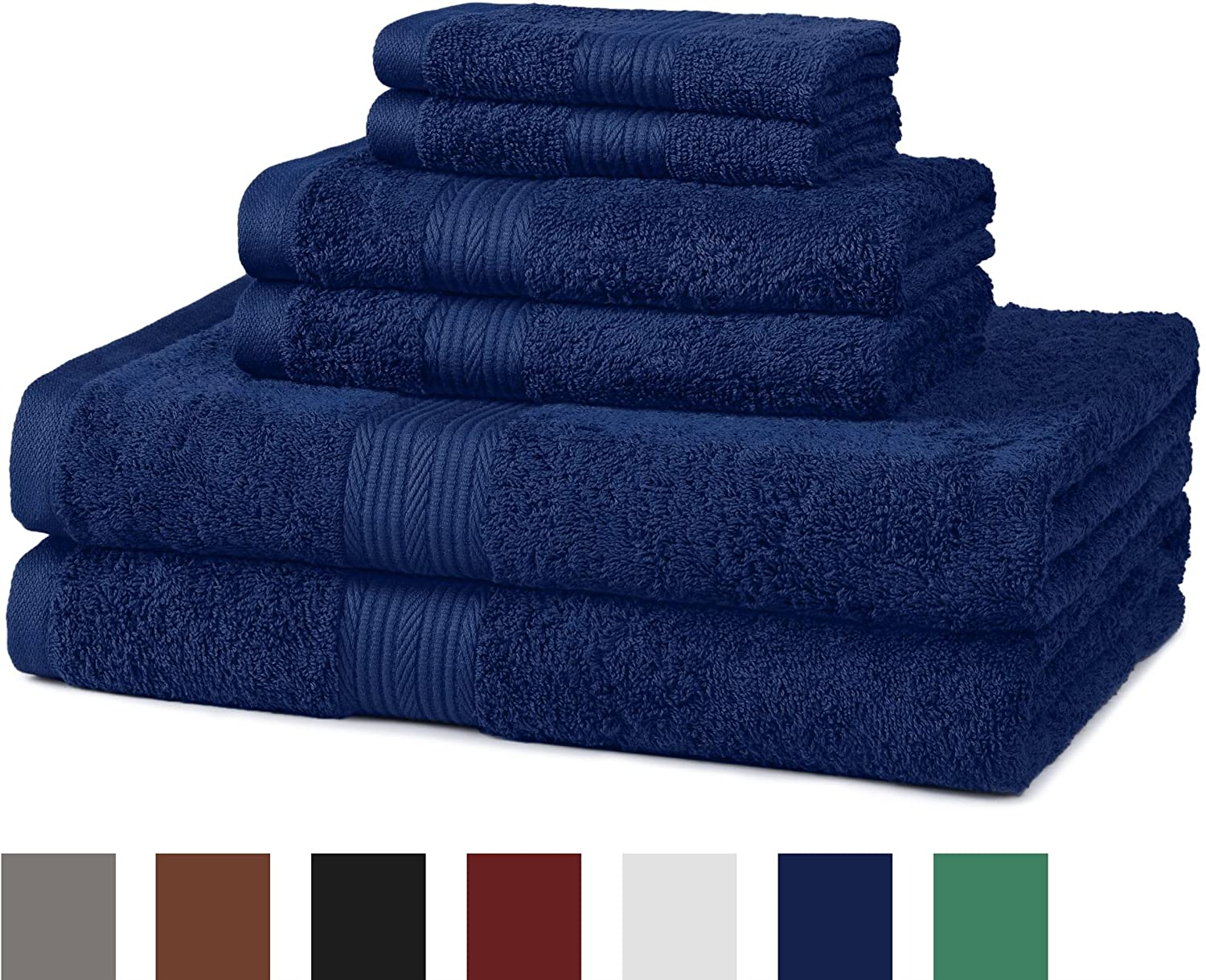 AmazonBasics Fade-Resistant Cotton 6-Piece Towel Set, Navy Blue
