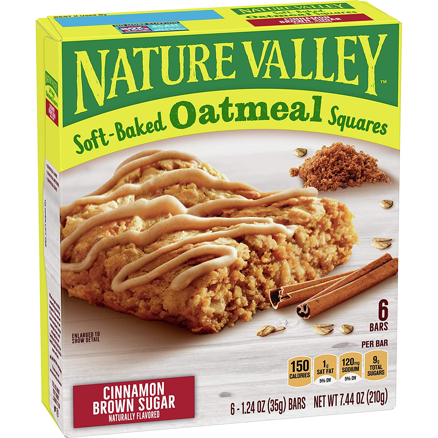 Nature Valley Soft-Baked Oatmeal Squares, Cinnamon Brown Sugar, 6 ct, 7.44 oz
