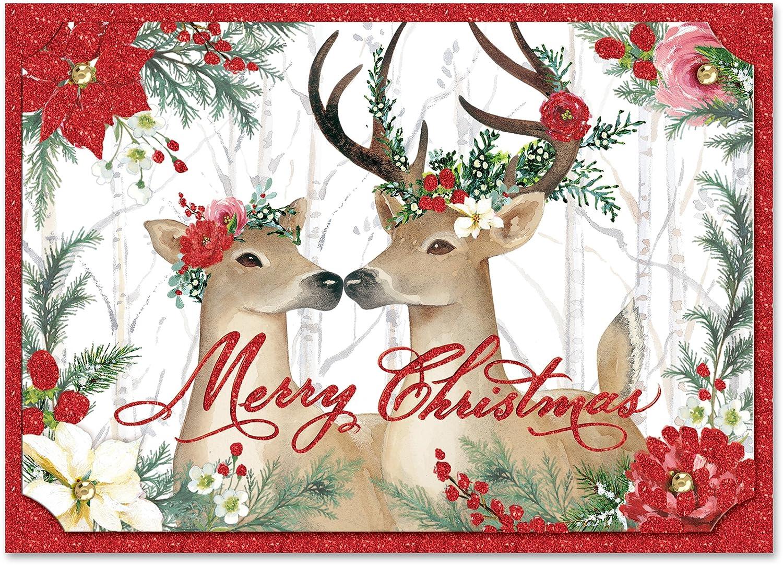 Punch Studio Christmas Dimensional Greeting Cards Deer Fun Set of 12 ...