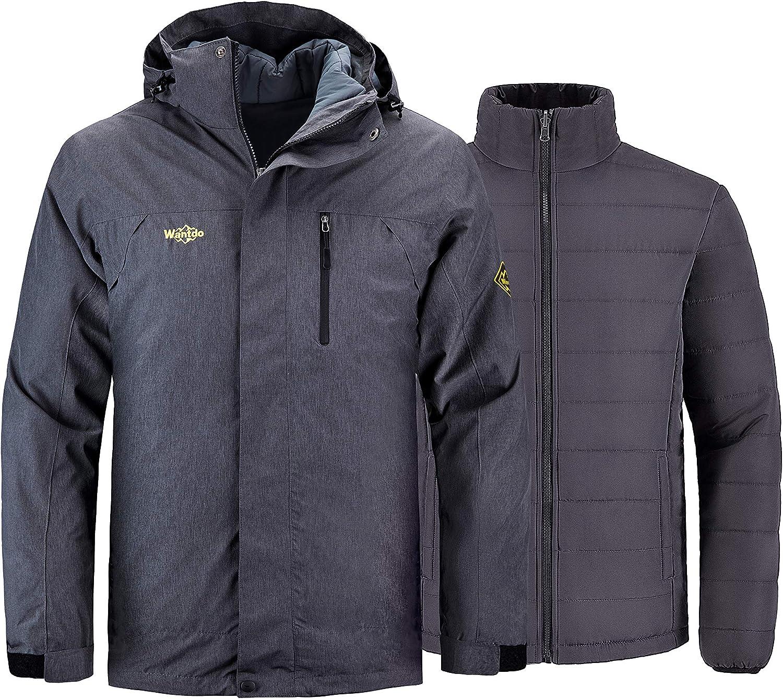 Wantdo Men's Waterproof 3 in 1 Ski Jacket Puffer Winter Coat Detachable Liner