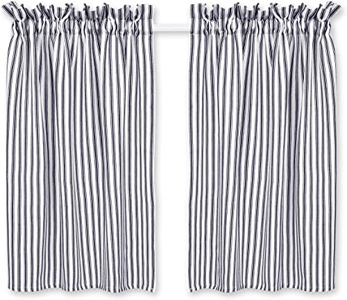 Cackleberry Home Black and White Ticking Stripe Cafe Curtains 28 Inches W x 36 Inches L Woven Cotton, Set of 2