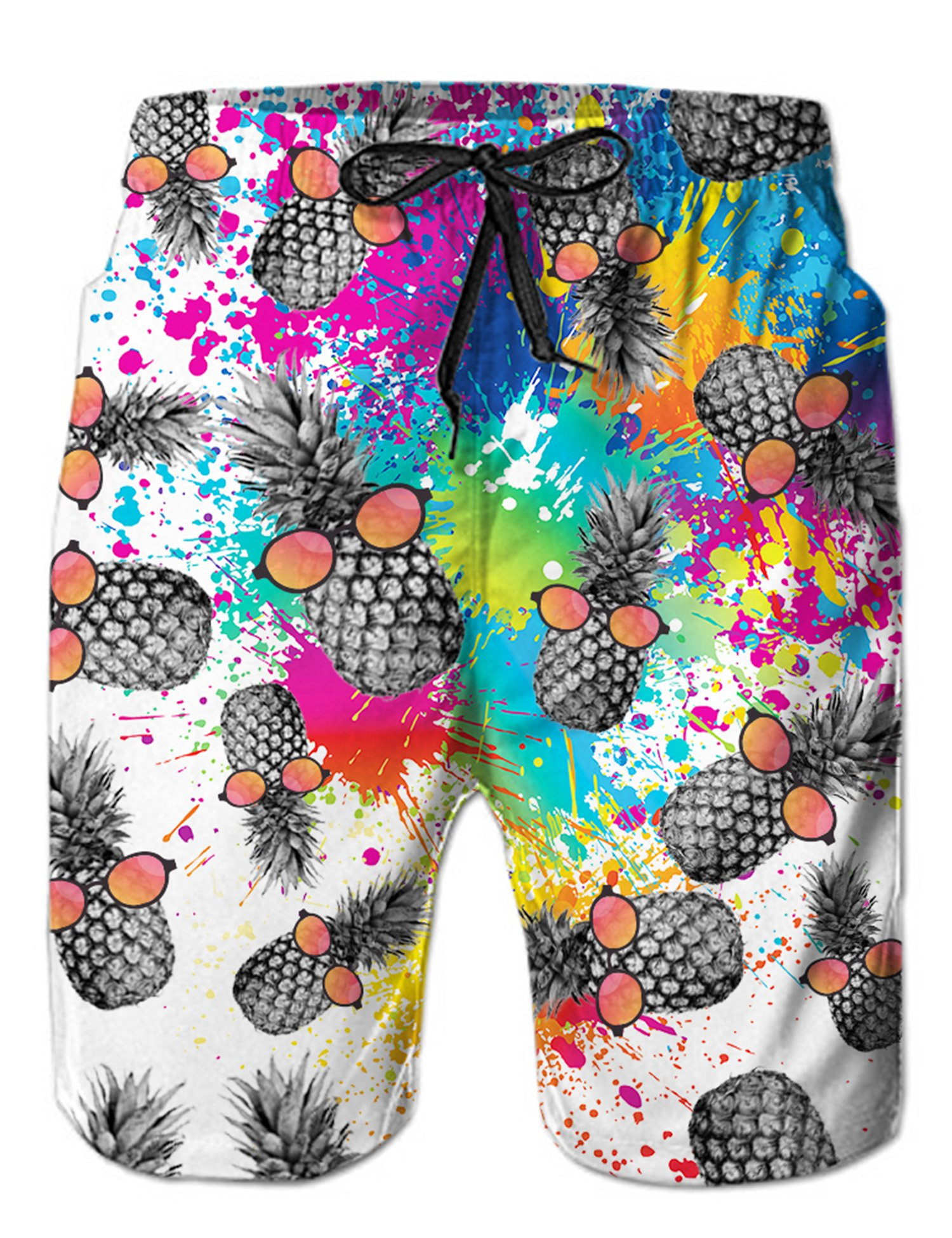 Loveternal Colorful Paint Splash Graphic Printed Mens Chubbies Swimming Trunks Soft Summer Beach Swim Shorts M