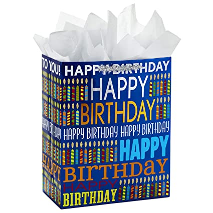 Amazon Hallmark Large Birthday Gift Bag With Tissue Paper Blue Happy Kitchen Dining