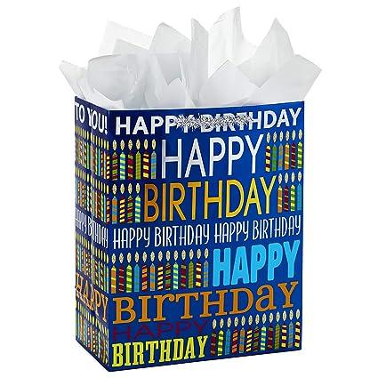 Amazon Hallmark Large Birthday Gift Bag With Tissue Paper Blue Happy Kitchen Dining