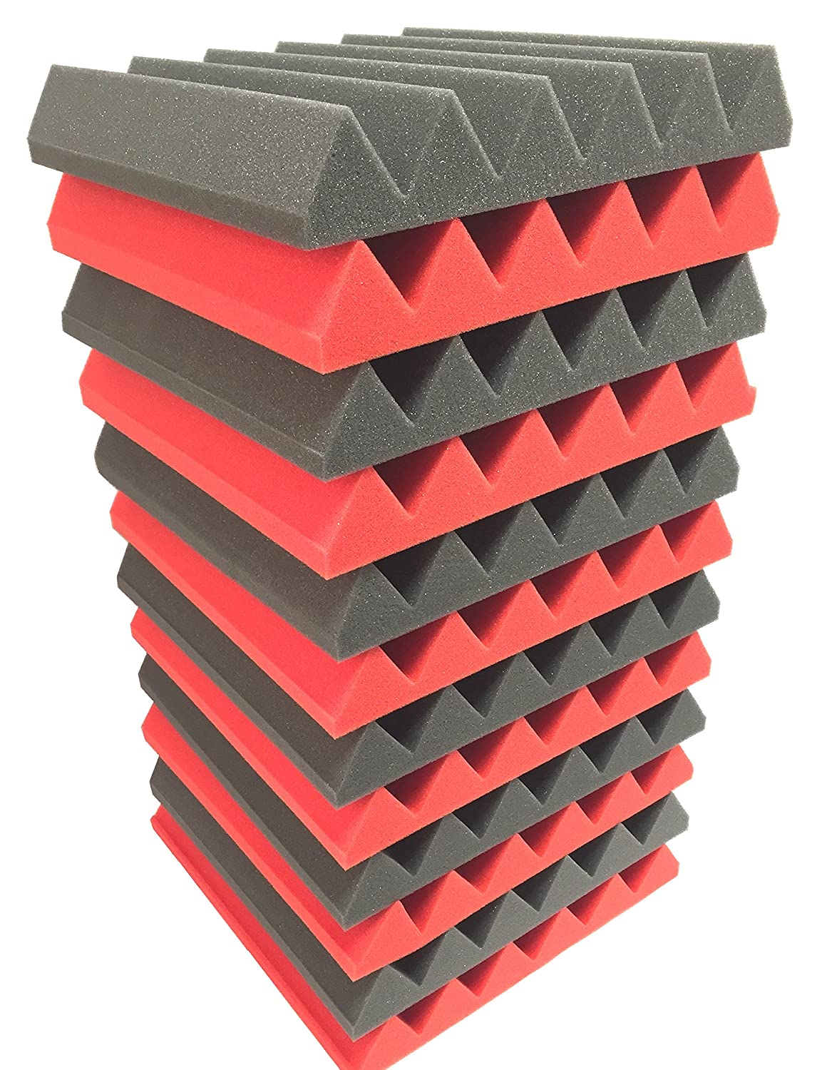 2x12x12 (12 Pack) RED/CHARCOAL Acoustic Wedge Soundproofing Studio Foam Tiles Soundproof Store