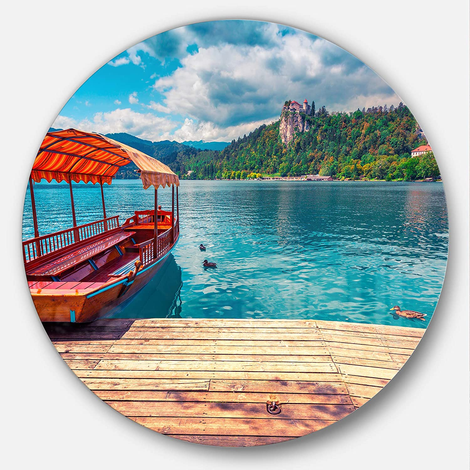 Designart Mt14574 C11 Boat In Lake Bled In Julian Alps Landscape Art Circle Wall Art Disc Of 11 Blue 11 X 11 Amazon In Home Kitchen