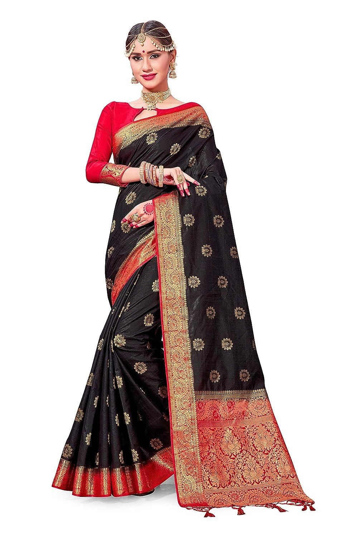b2854cb0d Amazon.com  ELINA FASHION Sarees for Women Banarasi Art Silk Woven Work Saree  l Indian Wedding Traditional Wear Sari and Blouse Piece (Black)  Clothing