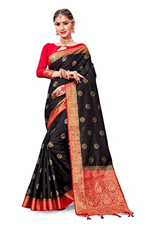 dee3a60cbe Amazon.com: ELINA FASHION Sarees for Women Banarasi Art Silk Woven Work  Saree l Indian Wedding Traditional Wear Sari and Blouse Piece (Black):  Clothing