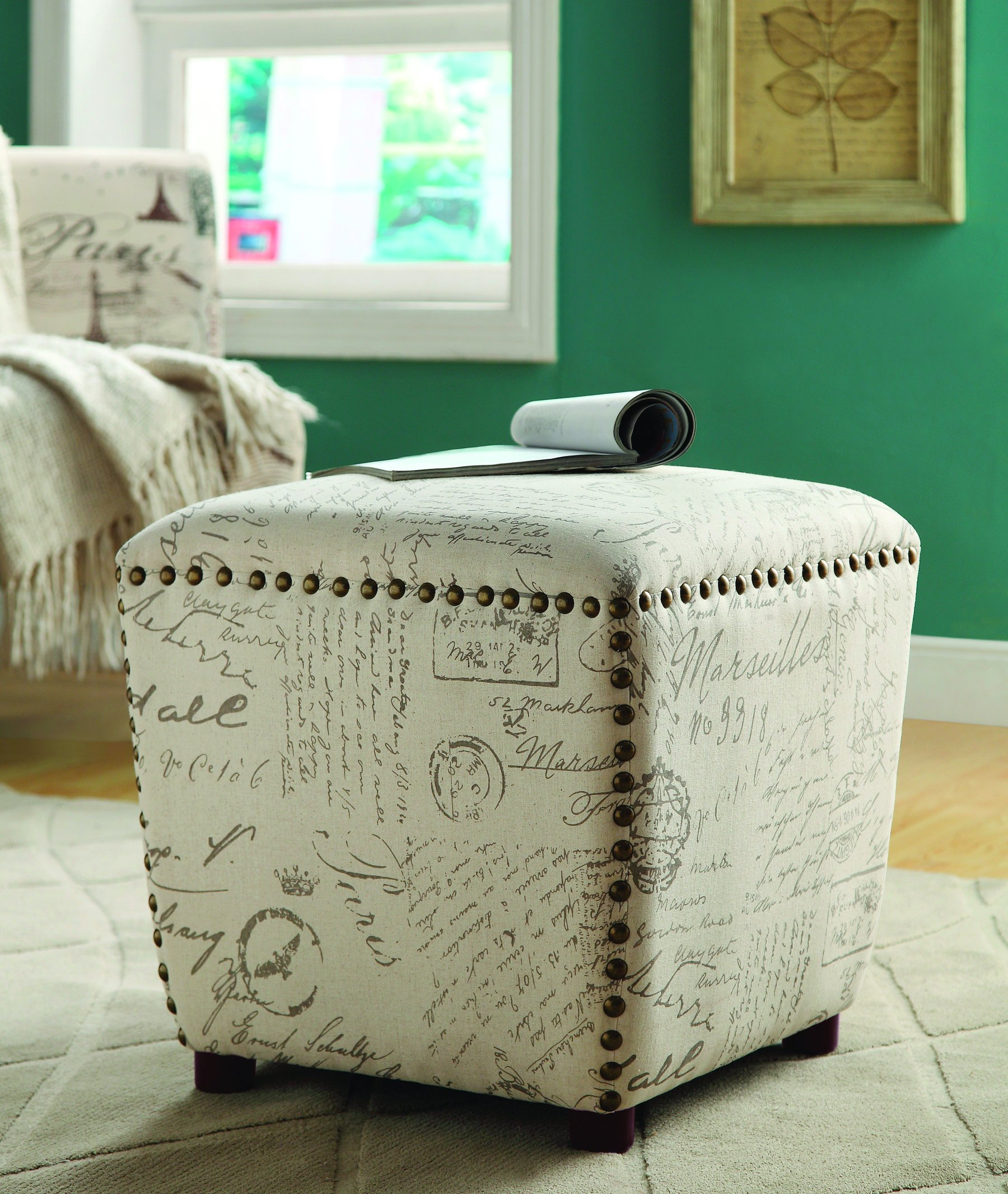 Coaster Casual Off-White/Grey Upholstered Ottoman with Nailhead Trim