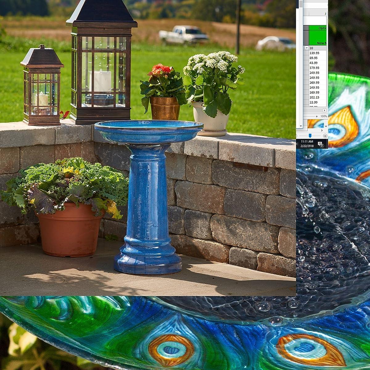 Smart Living207104-BT Aviatra Ceramic Birdbath, Blue, With Easy Assembly And Great Durability