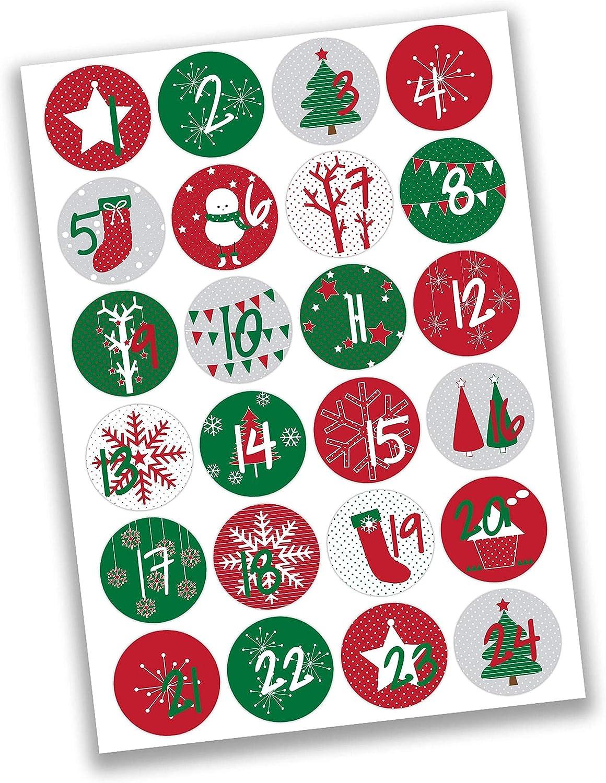 a elegir dorado Oblique Unique/® 24 pegatinas para calendario de Adviento con n/úmeros para Navidad para manualidades y decoraci/ón