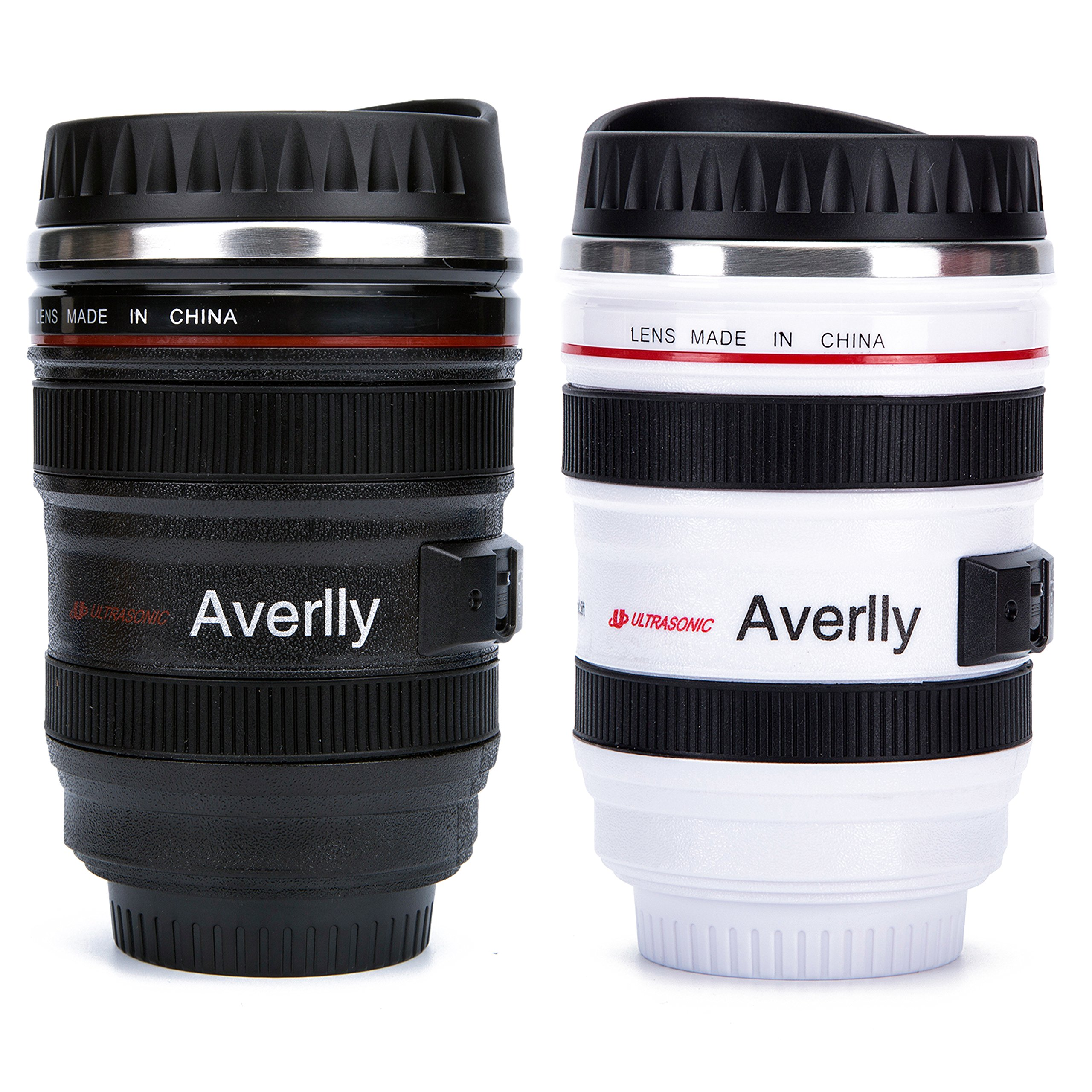 Averlly Camera Lens Coffee Mug Stainless Steel Insulated Tumbler Cup For Couples Creative Photographer Gifts (Black+White)