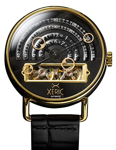 Xeric Mens Automatic Stainless Steel and Leather Watch, Color:Black (Model: HLG