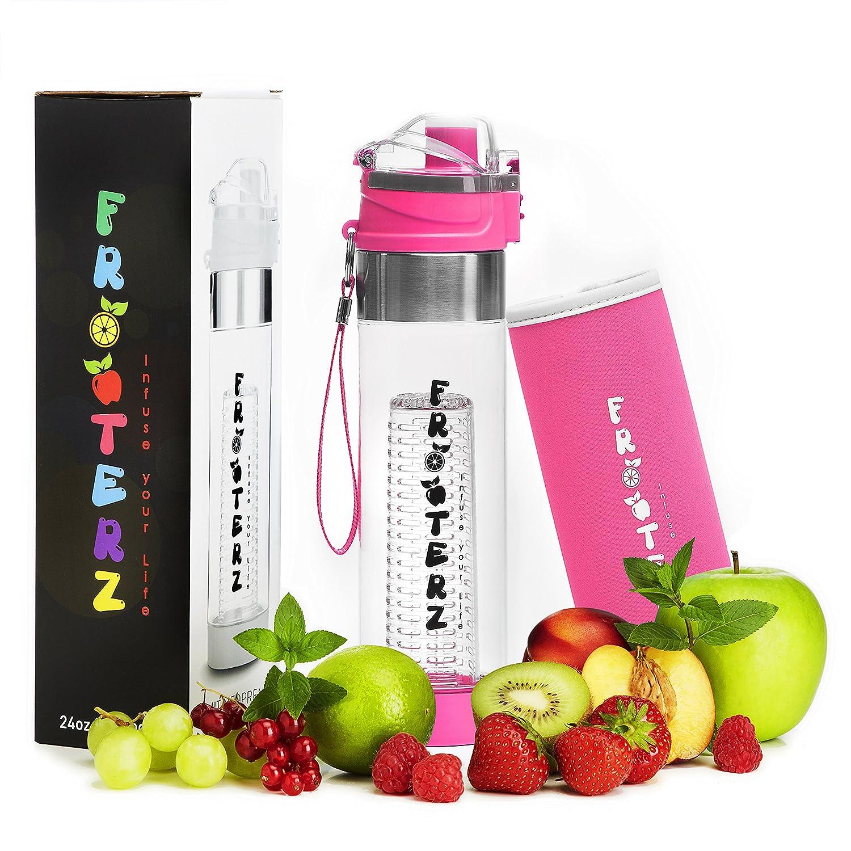 Premium Fruit Infuser Trinkflasche mit Früchtebehälter 700ml inkl. Thermohülle - BPA frei - LFBG zertifizierte Sportflasche aus Tritan Frooterz
