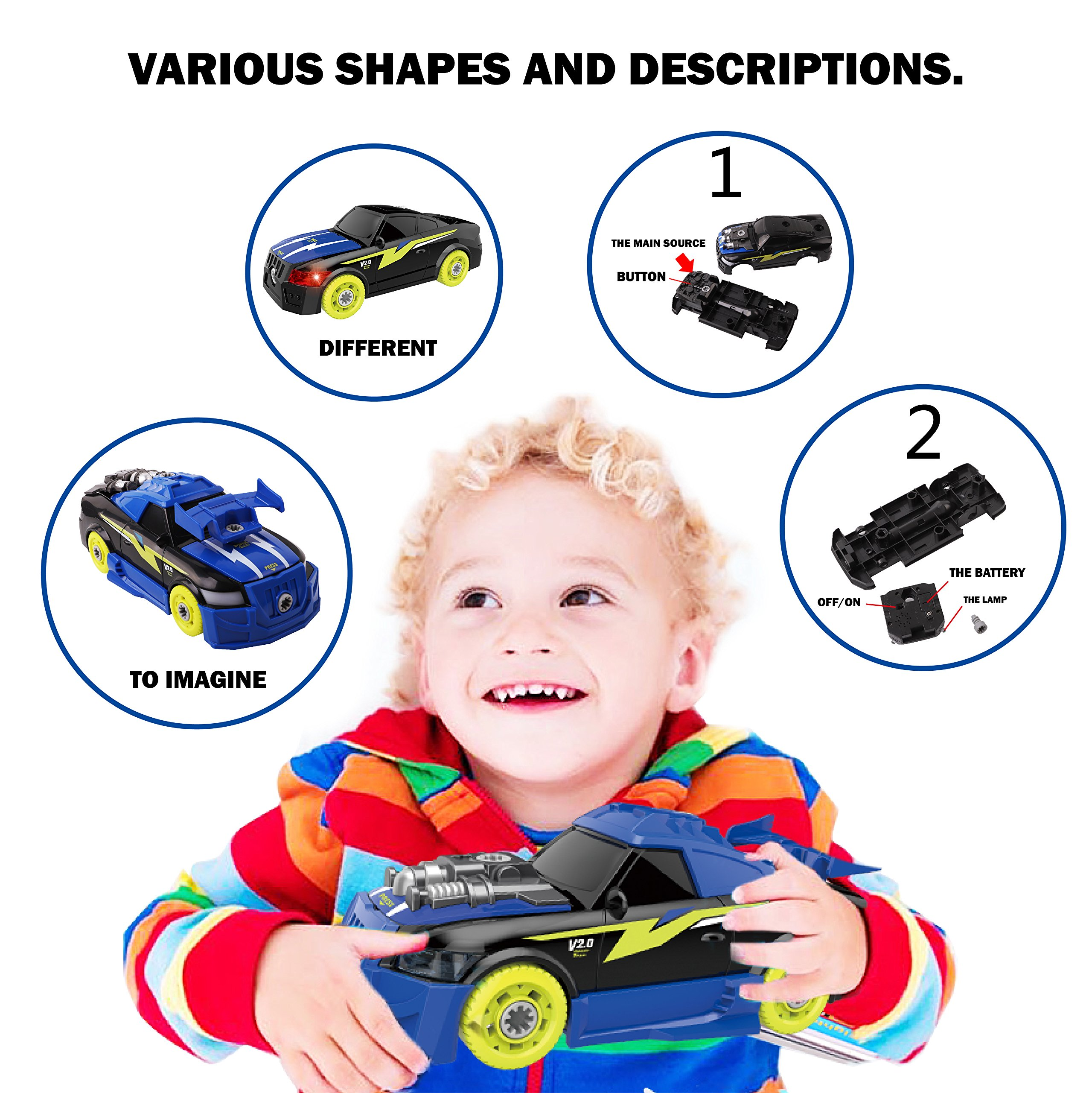 Maxxrace Take Apart Racing Car, STEM Toys 26 Pieces Assembly Car Toys with Drill Tool, Lights and Sounds, Gifts for Kids Aged 3+ by Maxxrace (Image #2)