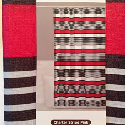 Comfort Bay Charter Stripe Pink Fabric Shower Curtain 70quot