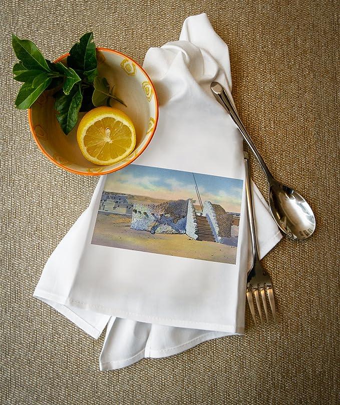 Amazon.com: New Mexico - View of a Pueblo Indian Estufa or Kiva (100% Cotton Kitchen Towel): Kitchen & Dining